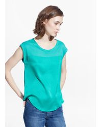 Mango - Green Contrast T-Shirt - Lyst