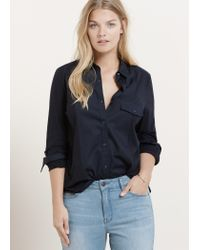 Violeta by Mango | Blue Contrast Panel Shirt | Lyst