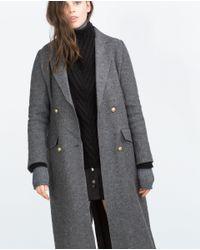 Zara | Gray Long Coat | Lyst
