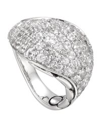 John Hardy - Metallic Kali Silver Lava Ring with White Sapphire - Lyst