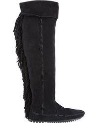 Maje | Black Minnetonka Suede Knee-high Boots | Lyst