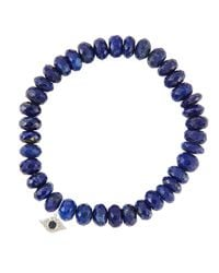 Sydney Evan - Metallic 8Mm Faceted Lapis Beaded Bracelet With 14K Gold/Diamond Small Butterfly Charm (Made To Order) - Lyst