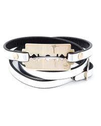 McQ - Metallic Razor Blade Triple Wrap Bracelet - Lyst