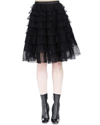 Alexander McQueen | Black Ruched-tiered Knit Skirt | Lyst