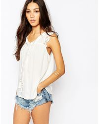 Vila | White Lace Detail Cami Top | Lyst