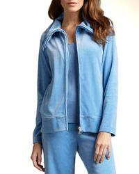 Joan Vass - Blue Relaxed Velour Track Jacket - Lyst