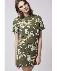 TOPSHOP - Natural Leaf Print Overlay Dress - Lyst