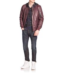 DIESEL - Purple Shadow Leather Jacket for Men - Lyst