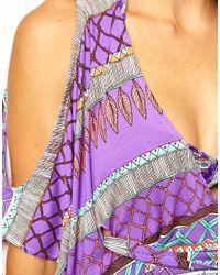 Mara Hoffman - Purple Frida Braided Cold Shoulder Poncho - Lyst