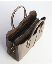Tod's - Gray Taupe Pebbled Leather Convertible Top Handle Bag - Lyst