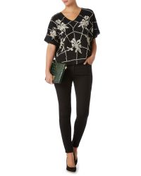 Biba - Black Beaded And Embroidered Blouse - Lyst