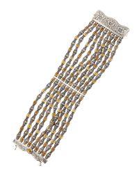 Konstantino | Metallic Sterling Silver Large Citrine Chain Cuff | Lyst