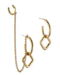 Pamela Love | Metallic Mini Machina Gold Plate Earrings With Cuff | Lyst