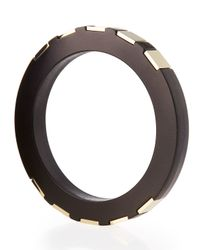 Lafayette 148 New York | Black Brass-inset Leather Bangle | Lyst