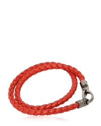 "Tod's | Orange ""my Colors"" Braided Leather Bracelet for Men 