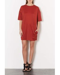 TOPSHOP - Red Pocket Detail Sweat Dress - Lyst