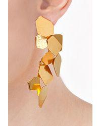 Herve Van Der Straeten - Metallic Hammered Gold-Plated Ciselle Clip Earrings - Lyst