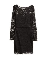 H&M   Black Printed Dress   Lyst