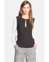 1.STATE | Black Colorblock Blouse | Lyst