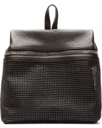 Kara - Black Pebbled Leather and Doubled Mesh Backpack - Lyst