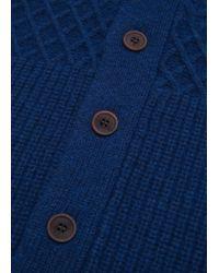 Mango - Blue Chunky-knit Wool-blend Cardigan for Men - Lyst