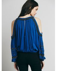Free People | Blue Womens Embellished Banded Open Shoulder Top | Lyst