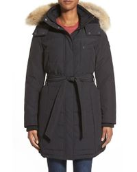 Pendleton - Black 'williamsburg' Genuine Coyote Fur Trim Belted Down Parka - Lyst