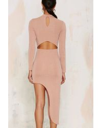 Glamorous | Natural Great Length Asymmetric Bodycon Dress - Beige | Lyst