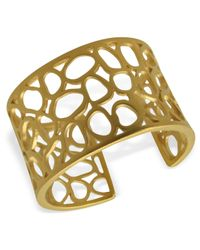 T Tahari - Metallic 14k Gold Plated Essentials Openwork Cuff Bracelet - Lyst