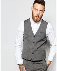 ASOS   Gray Wedding Waistcoat In Multi for Men   Lyst