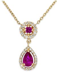 Macy's | Red Ruby (5/8 Ct. T.W.) And Diamond (1/5 Ct. T.W.) Pendant Necklace In 14K Gold | Lyst