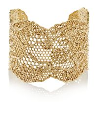 Aurelie Bidermann | Metallic Vintage Lace Gold-plated Cuff | Lyst