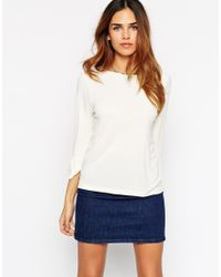 ASOS | White Top In Crepe With Bell Sleeve | Lyst