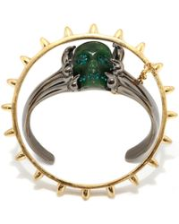 Alexander McQueen - Green Claw Skull Double Bangle - Lyst