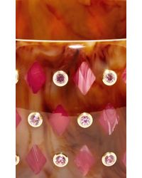 Mark Davis - Multicolor Marbled Brown Bakelite Bangle With Pink Sapphires - Lyst