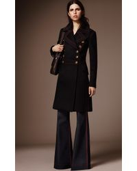 Burberry - Black Double Breasted Luggage Stitch Military Coat - Lyst