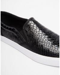 ASOS - Black Slip On Plimsolls With Snakeskin Effect for Men - Lyst