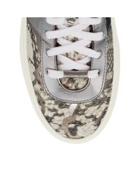 Jimmy Choo - Gray Bells Natural And Silver Graphic Gloss Elaphe Trainers - Lyst