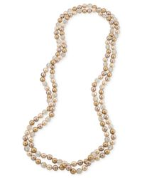 Carolee | Metallic Imitation Pearl And Glass Bead Two-Row Long Necklace | Lyst