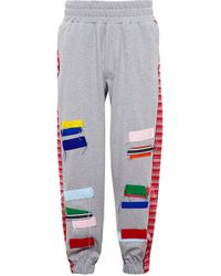 James Long | Gray Patchwork Track Pants for Men | Lyst