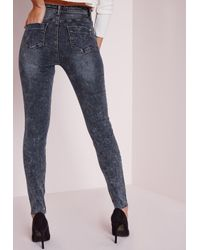 Missguided - Blue Hustler Mid Rise Ripped Knee Skinny Jeans Vintage Indigo - Lyst