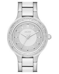 DKNY - Metallic 'chambers' Crystal Bezel Bracelet Watch - Lyst