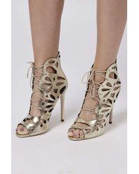TOPSHOP - Metallic Ravish Laser-cut Sandals - Lyst