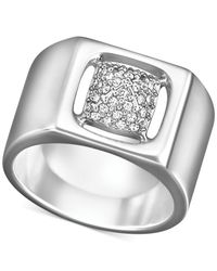 Swarovski | Metallic Silver-tone Crystal Pavé Cutout Ring | Lyst