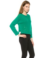 Philosophy - Cropped Pointelle Sweater - Green - Lyst
