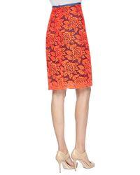 Nicole Miller Artelier - Multicolor Floral Lace Pencil Skirt - Lyst