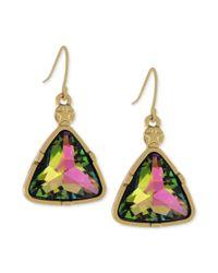 BCBGeneration - Metallic Goldtone Crystal Triangle Drop Earrings - Lyst