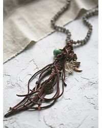Free People - Brown Labradorite And Leather Necklace - Lyst