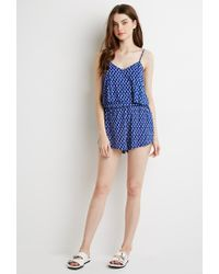 Forever 21 - Blue Abstract Arrow Flounce Romper - Lyst