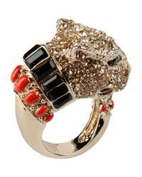 Roberto Cavalli | Metallic Gold Plated Swarovski Crystal Panther Ring | Lyst